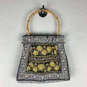 VTG Embroidered Boho Woven Hippie Floral Bag